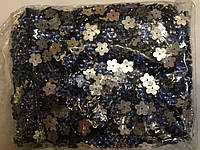Камни пришивные, цветок 2000шт в упаковке, цвет т-синий