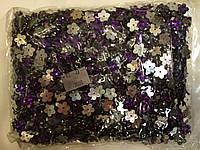 Камни пришивные, цветок 2000шт в упаковке, сиреневый