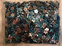 Камни пришивные, цветок 2000шт в упаковке, цвет бирюза