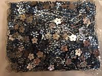 Камни пришивные, цветок 2000шт в упаковке, цвет голубой
