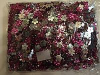 Камни пришивные, цветок 2000шт в упаковке, цвет малиновый