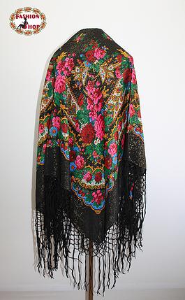 Настоящий чёрный платок шерстяной с люрексом , фото 2