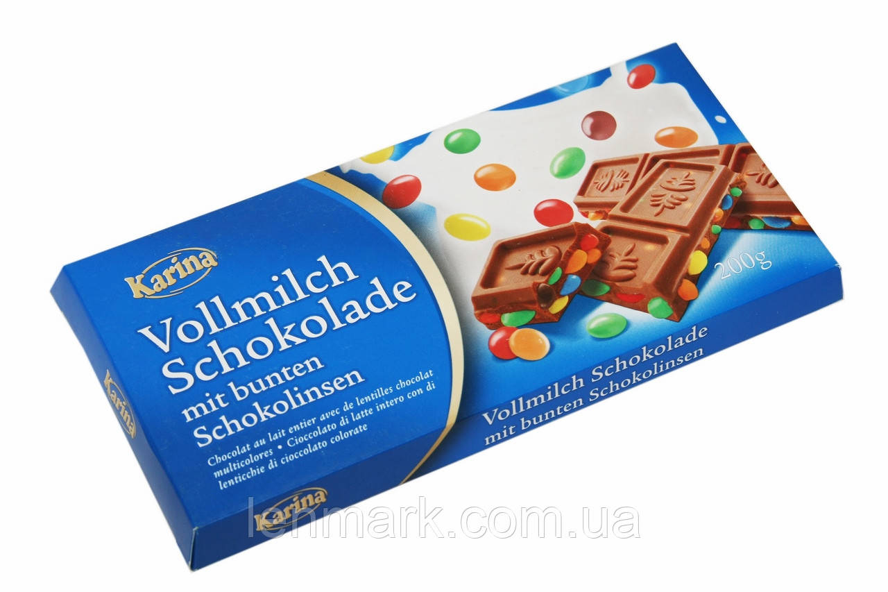 "Молочный шоколад  Karina «Vollmilch Schokolade» с ""MM`S"" 200 г"