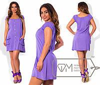 Летнее женское платье на пуговицах с карманами
