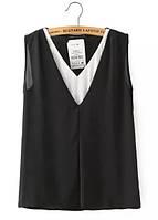 Элегантная женская легкая шифоновая блуза черного цвета с белой вставкой