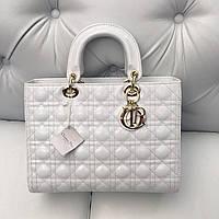 Женская сумка Dior Lady лаковая кожа белая