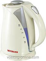 Электрочайник Vitalex VT-201. Техника для кухни, бытовая. Чайники электрические. 1,7 л. Дисковый электрочайник