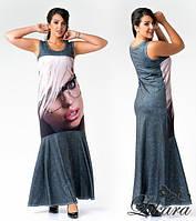 Платье женское  с принтом в пол
