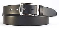 Черный мужской кожаный ремень с гладкой кожи и классической пряжкой 4 см.