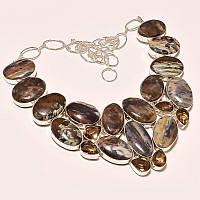 Крупное Колье, ожерелье из натуральных камней - ПЕТЕРСИТ, РАУХТОПАЗ (ДЫМЧАТЫЙ КВАРЦ)