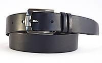 Черный мужской кожаный качественный надежный ремень классика  Украинский производитель 4 см.