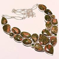 Крупное Колье, ожерелье из натуральных камней - красивейшая ЯШМА УНАКИТ, КВАРЦ