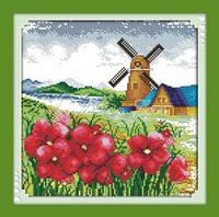 Ветряная мельница Набор для вышивки с нанесенным рисунком на канве