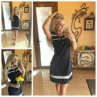 Платье женское льняное без рукава С кружевом