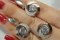 Серебряный гарнитур - кольцо и серьги - с золотом и белыми цирконами