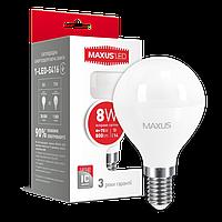 Лампа светодиодная шарик MAXUS LED G45 F 8W 4100K 220V E14 (1-LED-5416)