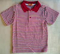 Тениска-поло с коротким рукавом, в красно-белую полоску, детская