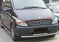 Защита переднего бампера труба двойная D60-42 на Mercedes Viano