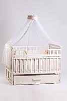 Детская кроватка трансформер Лодочка ваниль Детский Сон