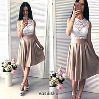 Женское нарядное платье с гипюром в расцветках, фото 1