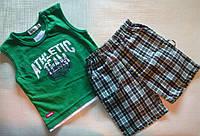 Зеленая майка и клетчатые шортики для мальчика