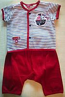 Костюм для новорожденного: кофточка в полоску и красные штанишки