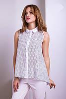 Интересная Блуза с Удлиненной Спинкой Белая с Черным XS-XL