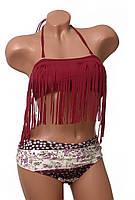 Купальник женский раздельный Marsella бандо с бахромой цвет марсала