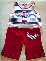 """Костюм для новорожденного """"Моряк"""": майка в полоску и красные штанишки"""