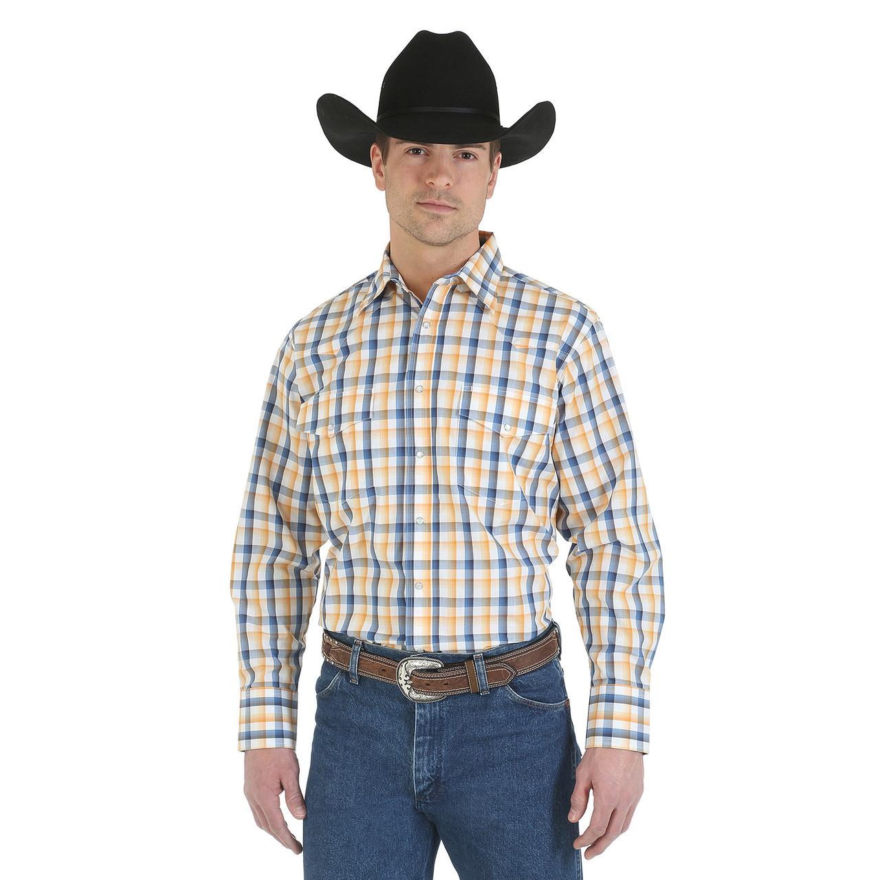 Рубашка Wrangler Wrinkle Resist, S, White/Blue/Gold, MWR174M