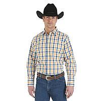 Рубашка Wrangler Wrinkle Resist, S, White/Blue/Gold, MWR174M, фото 1