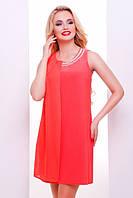 Летнее нежное персиковое платье Тина 42-50 размеры