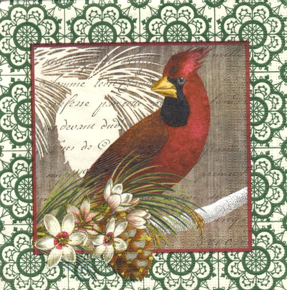 Декупажная салфетка Красный кардинал 5934