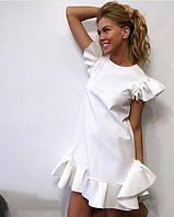 Стильное Платье выше колена с воланом и интересными рукавчиками 413 ЕП