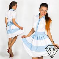 Стильное Платье длиной по колено лиф рубашечного кроя на поясочке 412 ЕП