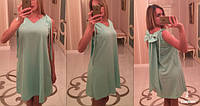 Стильное Платье с V-образным вырезом горловины и бантом на спине длиной выше колена 396 ЕП