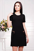 Черное женское платье с коротким рукавом Настя 42-50 размеры