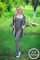 Женский модный костюм тройка качественного кроя кардиган+ майка+ брючки с карманами 379 ЕП