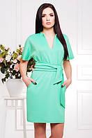 Мятное платье с широким поясом Лучия 42-50 размеры