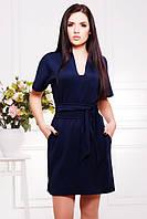 Темно-синее платье с широким поясом Лучия 42-50 размеры