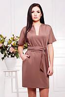 Бежевое прямое платье с широким поясом Лучия 42-50 размеры