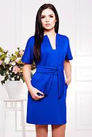 Прямое платье с широким поясом Лучия электрик 42-50 размеры