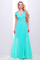 Нежное мятное платье в пол Глория 42-50 размеры