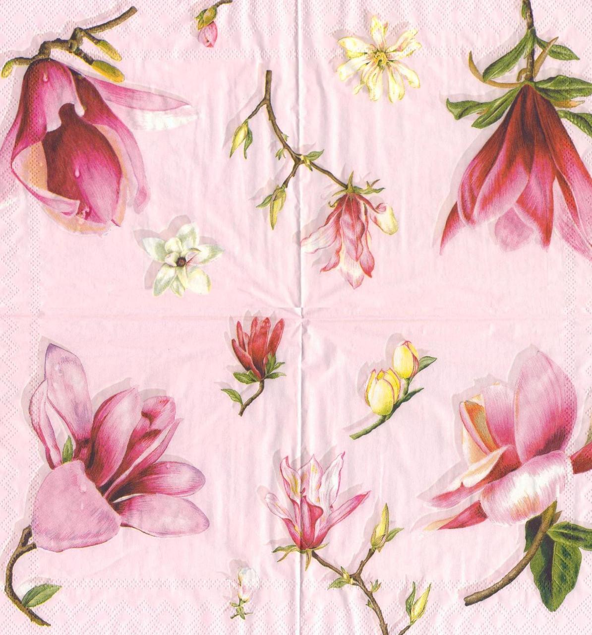 Салфетка для декупажа Магнолия на розовом фоне5938
