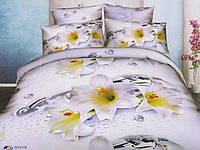 """Комплект постельного белья двуспальный евро, 3D """"Музыка белых лилий"""""""