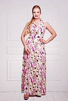 Летнее платье в пол из штапеля с цветочным принтом Лагуна 50-58 размеры