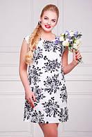 Льняное платье большого размера белое с цветочным принтом Смузи 50-60 размеры