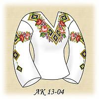 Заготовка женской сорочки для вышивания АК 13-04 Летние Розы габардин, льняной