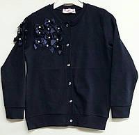 Школьная кофта трикотажная для девочки темно синяя ТУРЦИЯ