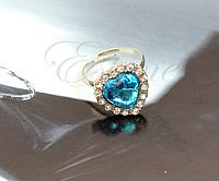 "Кольцо ""Сердце океана"" голубой  цвет, фото 1"